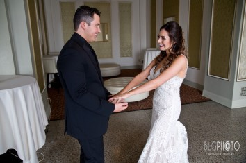 Bride and Groom at Greysolon Ballroom by Blackwoods in Duluth, MN.